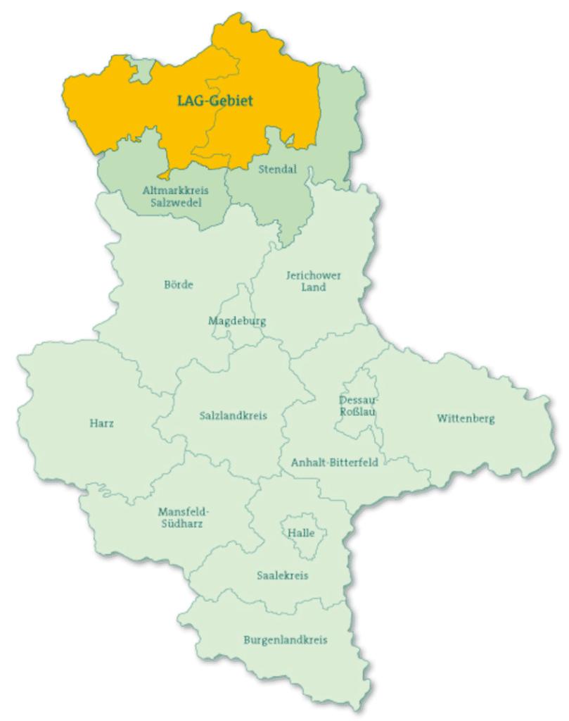 Lage der LEADER-Region Mittlere Altmark in der Bundesrepublik und in Sachsen-Anhalt